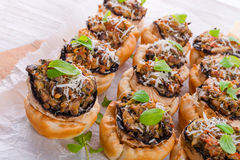 Champignons with puff pastry Stock Image