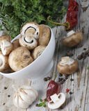 Champignons and spices Stock Photos