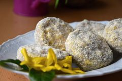 Champignons stuffed with a mixture of cheese and sausage, covered with in bread crumbs and flour. Champignons stuffed with a mixture of cheese and sausage Royalty Free Stock Images