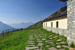 Champillon mountain hut, Italian Alps, Aosta Valley. stock image