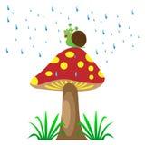 Champinjon i regnet med snigeln Royaltyfri Bild