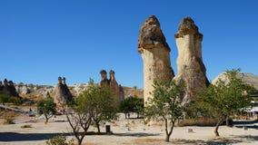 Champinjonen formade felika lampglas i den Pasabag dalen munkdalen, den Goreme nationalparken, det Nevsehir landskapet Cappadocia arkivfoton