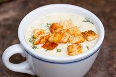 Champinjoner lagar mat med grädde soppa Royaltyfria Foton