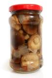 Champinjoner marinaded i den glass kruset Royaltyfria Bilder