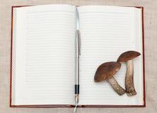 Champinjoner och anteckningsbok Arkivbild