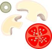 Champinjoner, oliv och tomater Royaltyfri Bild