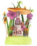 Champinjonhus med gräs, blommor, fjäril, bygga bo ask och väl vektor illustrationer