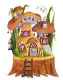 Champinjonhus med gräs, blommor, fjärilen, fågelburen och skyffeln stock illustrationer