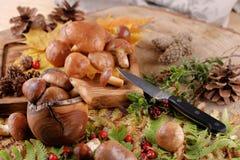 Champinjonsopp över träbakgrund Autumn Mushrooms Stensopp över träbakgrund, slut upp på den wood lantliga tabellen C royaltyfri fotografi