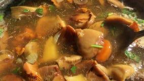 Champinjonsoppa med kantareller, soppchampinjoner och grönsaker kokas Koka och rör med en sked i pannan stock video