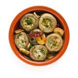 Champinones al ajillo , garlic mushrooms Stock Photo