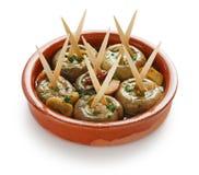 Champinones al ajillo , garlic mushrooms stock images