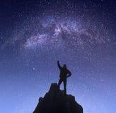 Champion against night landscape Stock Photo