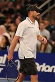 Champion Andy Roddick de Grand Chelem des Etats-Unis dans l'action pendant événement de tennis d'anniversaire d'épreuve de force  Photographie stock