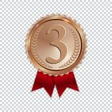 Champion Art Bronze Medal with Red Ribbon Icon Sign First Place Isolated on Transparent Background. Vector Illustration. EPS10 Stock Images