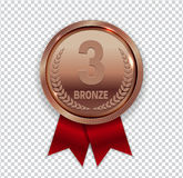 Champion Art Bronze Medal with Red Ribbon Icon Sign First Place. On Transparent Background. Vector Illustration EPS10 Royalty Free Stock Photo