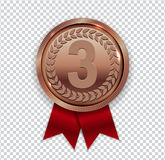 Champion Art Bronze Medal with Red Ribbon Icon Sign First Place. On Transparent Background. Vector Illustration EPS10 Stock Image