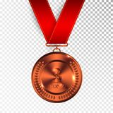 Champion Art Bronze Medal with Red Ribbon 3 Icon Sign Third Place Isolated on Transparent Background. Vector Illustration.  Stock Photos