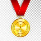 Champion Art Golden Medal with Red Ribbon 1 Icon Sign First Place Isolated on Transparent Background. Vector Illustration.  Stock Photos