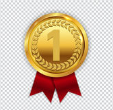 Champion Art Golden Medal with Red Ribbon l Icon Sign First Plac. E  on Transparent Background. Vector Illustration EPS10 Royalty Free Stock Image