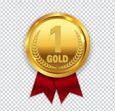 Champion Art Golden Medal with Red Ribbon l Icon Sign First Plac Royalty Free Stock Image
