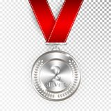 Champion Art Silver Medal with Red Ribbon 2 Icon Sign Second Place Isolated on Transparent Background. Vector Illustration.  Royalty Free Stock Photos