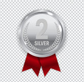 Champion Art Silver Medal with Red Ribbon Icon Sign Second Place. On Transparent Background. Vector Illustration EPS10 vector illustration