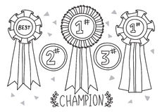 Champion award doodle Stock Images