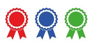 Champion award medals red blue green vector illustration