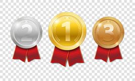 Champion Award Medals sport prize. gold, silver and bronze award medals with red ribbons isolated on transparent. Background. Vector illustration EPS 10 Royalty Free Stock Images