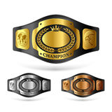 Champion belt. Gold, silver and bronze champion belts Stock Image