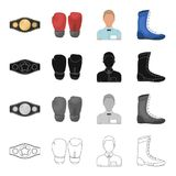 Champion belt, gloves for boxing, referee in the ring, sneakers. Boxing set collection icons in cartoon black monochrome Royalty Free Stock Photo