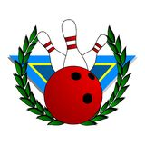 Champion bowling. Coat representing bowling with a laurel wreath Royalty Free Stock Photos
