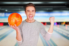 The champion of bowling. Stock Photos
