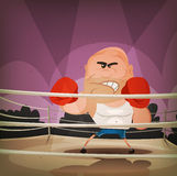Champion Boxer On The Ring. Illustration of a cartoon champion english boxer or fight sports hard-boiled character, challenging on the ring with crowd behind Stock Images