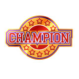 Champion. Bright Champion Sign College Style Royalty Free Stock Image