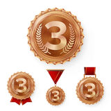 Champion Bronze Medals Set Vector. Metal Realistic 3rd Placement Winner Achievement. Number Three. Round Medal With Red Stock Photography
