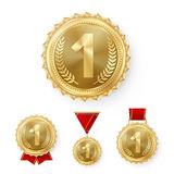 Champion Bronze Medals Set Vector. Metal Realistic 3rd Placement Winner Achievement. Number Three. Round Medal With Red Royalty Free Stock Photos