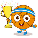 Champion cartoon basketball holding trophy Royalty Free Stock Images