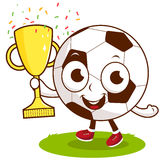 Champion cartoon soccer ball holding trophy Stock Photos