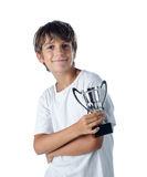 Champion child holding winner cup 2. Isolated on white royalty free stock image