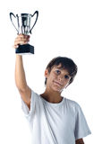Champion child holding winner cup. Isolated on white royalty free stock images