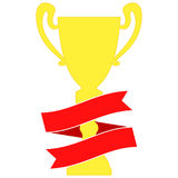 Champion cup in gold with red ribbon. Championship prizes for first place. Stock Images