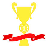 Champion cup in gold with red ribbon. Championship prizes for first place. Royalty Free Stock Image