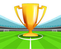 Champion cup in the midfield of football stadium vector Royalty Free Stock Photos
