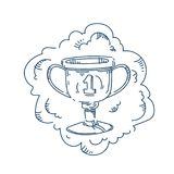 Champion cup trophy number one concept on white background sketch doodle. Vector illustration royalty free illustration