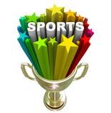Champion de gagnant de trophée d'or de Word de sports Image stock
