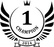Champion design with wings and crown. Stock Photography