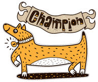 Champion dog with a medal Royalty Free Stock Photos