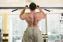 Champion doing pull-ups. Strong man doing pull-ups. Muscular back of bodybuilder training. A window on the background Stock Photography